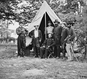 black and white photo of the Civil War era 3rd Indiana Cavalry leadership in front of tent