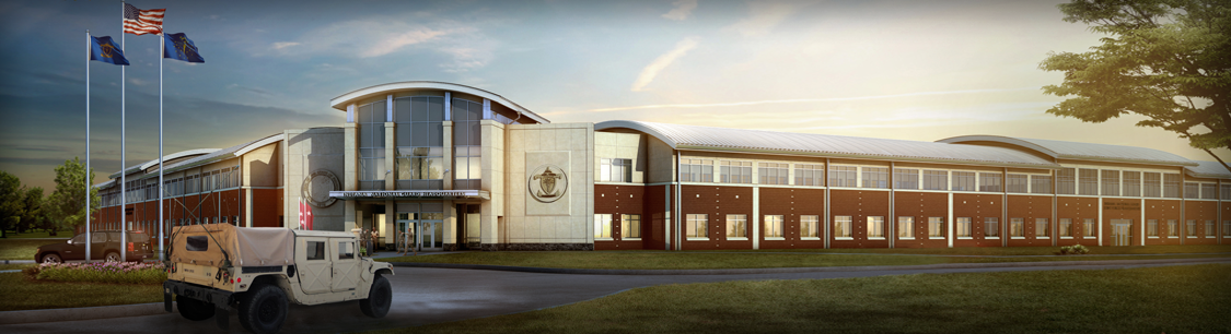 Header image- Full color drawing of Stout Field Headquarters building
