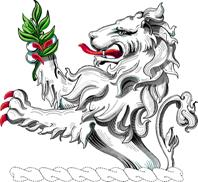 Indiana coat of arms- image of rampant lion