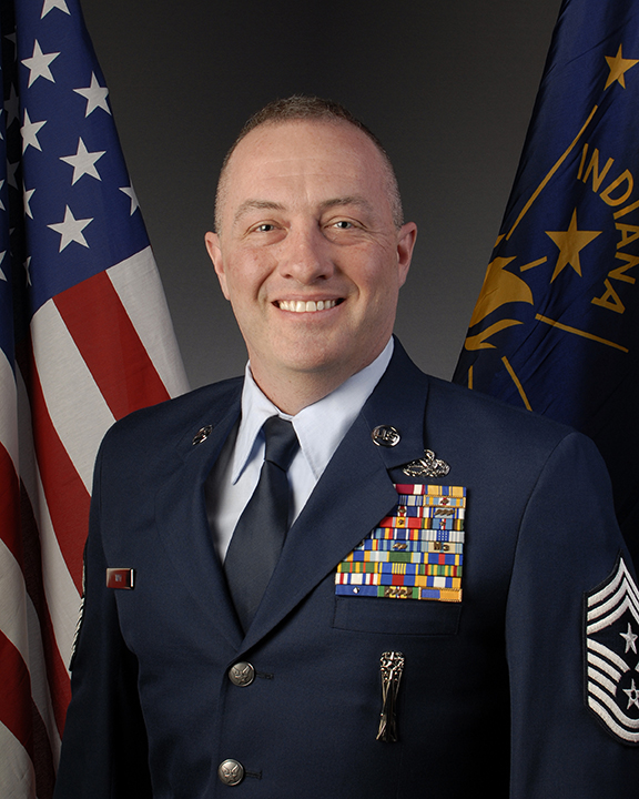 State Command Chief Master Sergeant, Indiana Air National Guard, CMSgt. Michael C May head shot