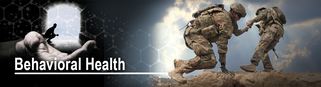 Header image- Indiana National Guard Behavioral Health Banner - soldier giving a helping hand to another soldier as they climb to top of cliff.