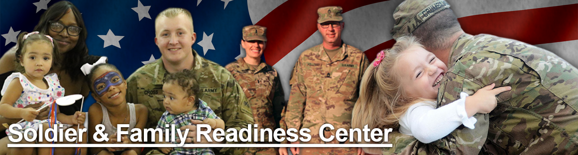 Soldier and Family Readiness Center banner image with a diverse group of uniformed and civilian women, men and children smiling and hugging.
